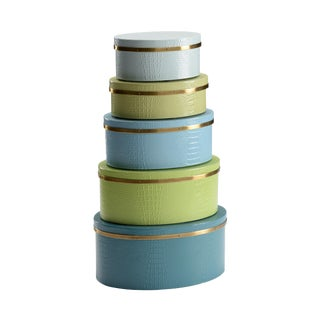 Wildwood Blue & Green Boxes - Set of 5 For Sale