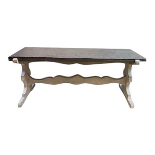 Painted Wood Cocktail Table With Slate Top For Sale