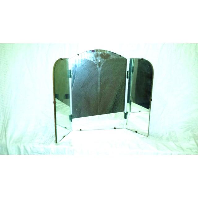 Art Deco Era Vintage Tri-Fold Vanity Mirror - Image 6 of 7