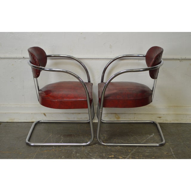 Art Deco Art Deco Set of 6 Chrome & Red Vinyl Dining Chairs For Sale - Image 3 of 10