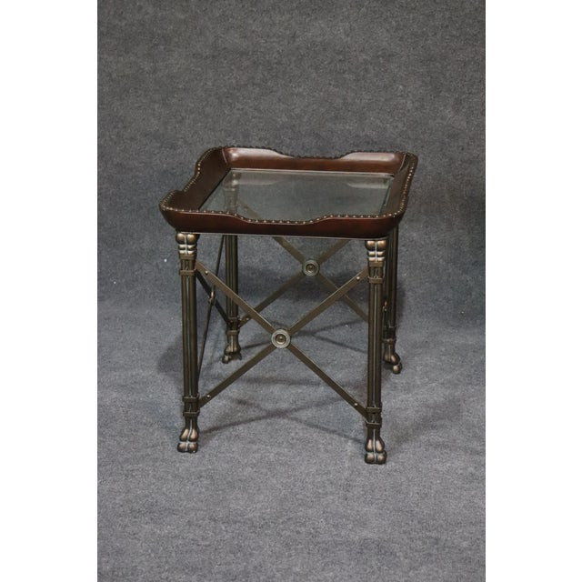 Brown Directoire Style Glass Top End Tables - a Pair For Sale - Image 8 of 10