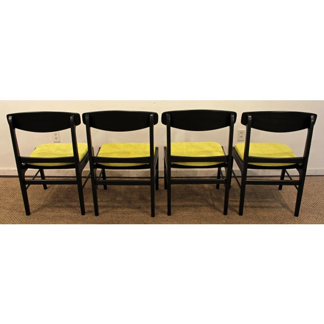 Mid-Century Danish Modern Ebonized 'Citron' Curved Back Dining Chairs - Set of 4 - Image 6 of 11