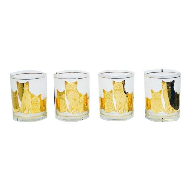 Vintage Mid-Century Modern 22k Gold Cat Etched Culver Glasses - Set of 4 For Sale