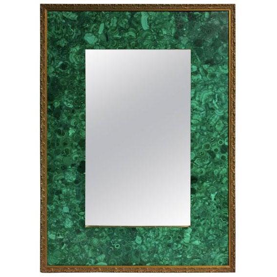 Wood Burl Malachite Veneered Mirror For Sale - Image 7 of 7