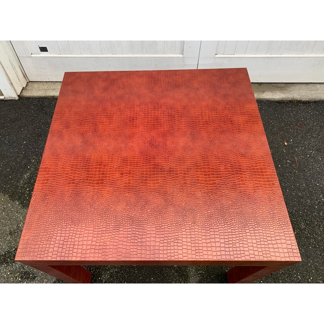 Burnt Orange Wrapped Faux Crocodile Parsons Side Table For Sale - Image 8 of 13