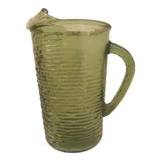 1960s Contemporary Anchor Hocking Soreno Green Pitcher For Sale