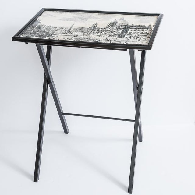 Folding Tray Tables Set With Scenes From Rome, Italy in Black & White, Set -4 For Sale - Image 4 of 10