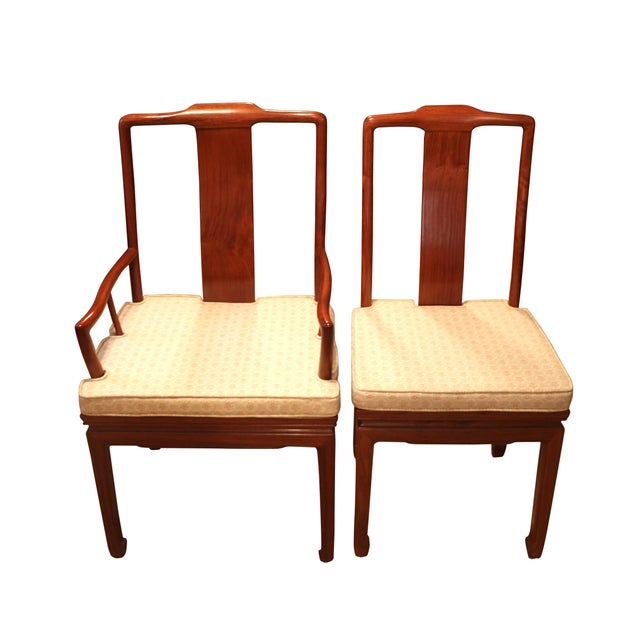 """1970s 1980's Chinese Rosewood 'Ming' Style Dining Set, Table & Eight Chairs (44""""-80"""") For Sale - Image 5 of 9"""