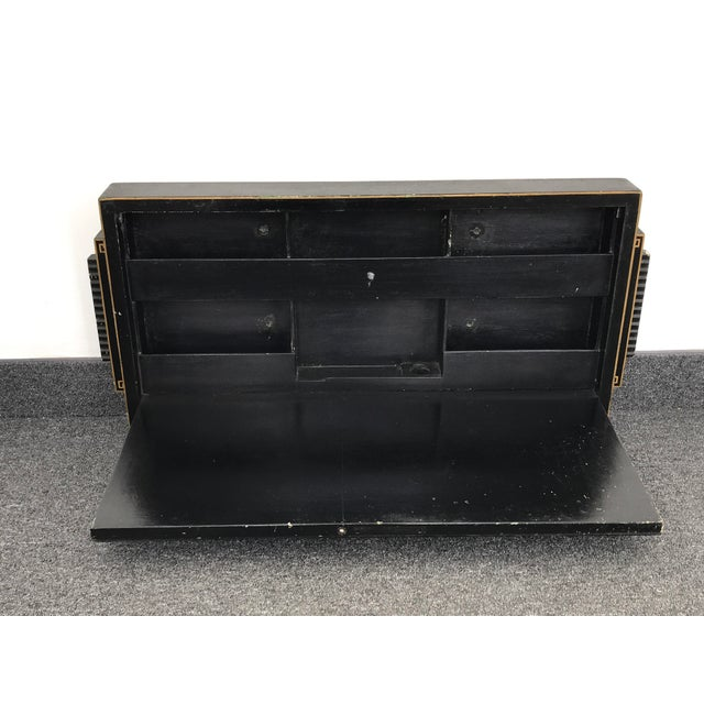 This is a very rare antique Japanese scriban wall-mount desk, handcrafted and hand painted. Black Lacquer with texture...