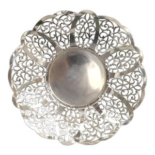 1960s Vintage Silver Plate Reticulated Tray For Sale