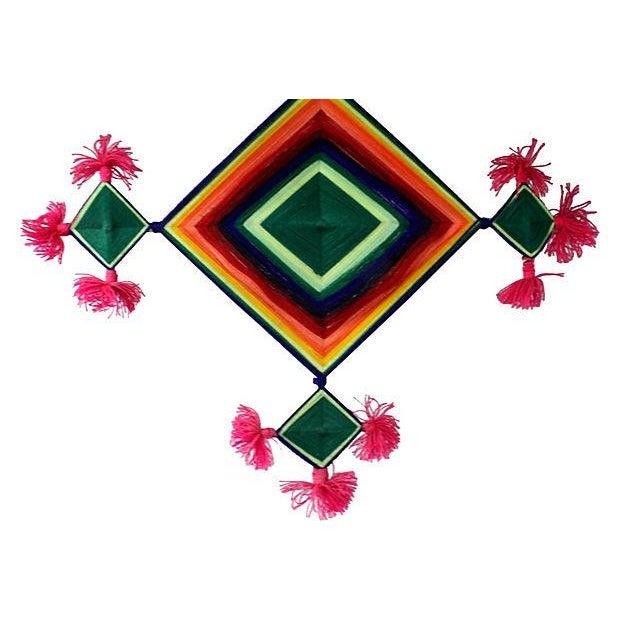Vintage Native American Ojo De Dios 70s Wall Art - Image 2 of 2