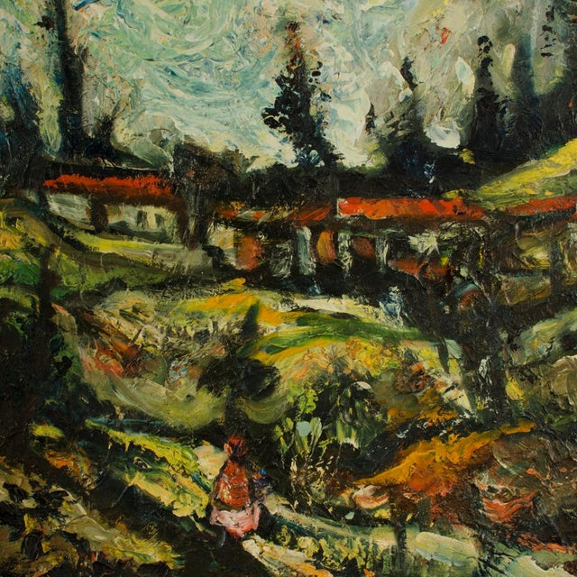 """Mid 20th Century """"Sunday Stroll Home"""" Landscape Oil Painting, Framed For Sale - Image 11 of 13"""