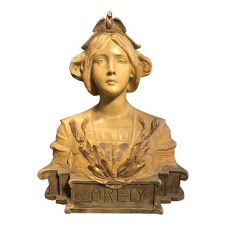 1900 Antique Austrian Goldscheider Terracotta Bust of Lorely For Sale