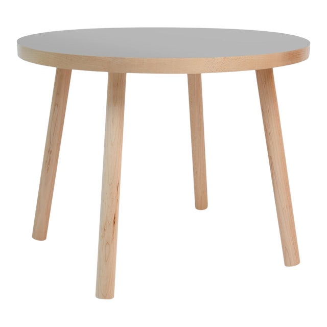 """Poco Small Round 23.5"""" Kids Table in Maple With Gray Top For Sale"""