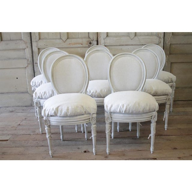 20th Century Painted and Upholstered Louis XVI Dining Chairs - Set of 8 - Image 2 of 5