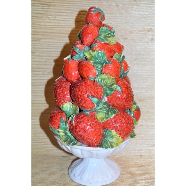 Mid-Century Italian Majolica Strawberry Topiary For Sale - Image 4 of 5