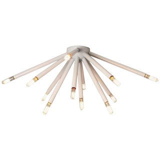 """Model 130 """"Strobus"""" White Enamel Flush Mount Light Fixture, Blueprint Lighting For Sale"""