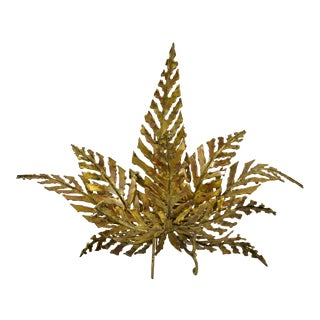 1960s Brutalist Brass Fern-Shaped Wall Sconce For Sale
