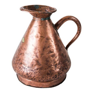 Large Four Gallon Victorian English Copper Ale-Beer Measuring Jug For Sale