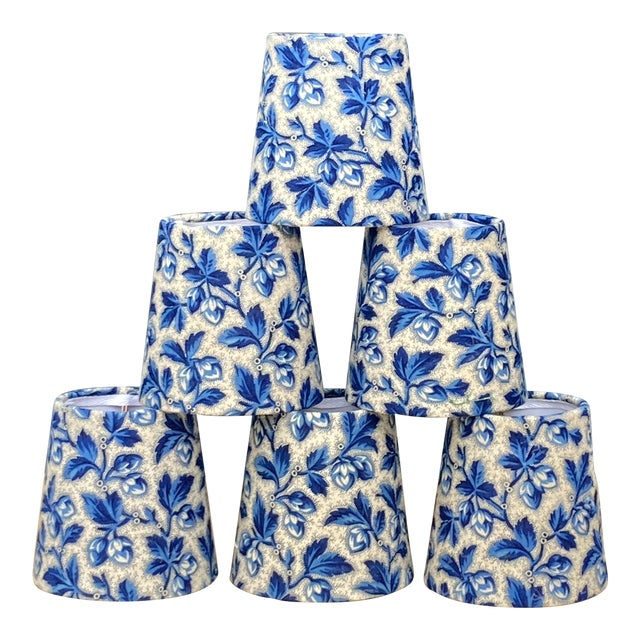 Antique Blue Floral Fabric Chandelier Shades For Sale