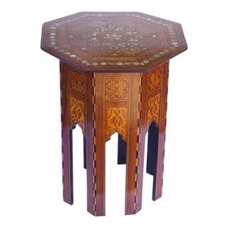 1900's Moroccan Octagonal Table With Mother-Of-Pearl Inlay For Sale