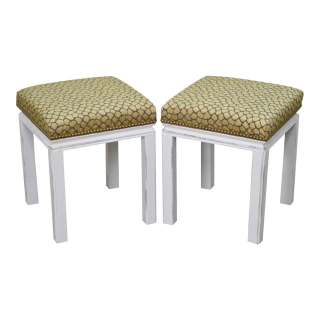 Mid Century Pair of Custom Painted Square Stools Benches For Sale