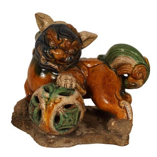 Vintage Chinese Ceramic Glaze Foo Dog Playing Ball Sculpture For Sale