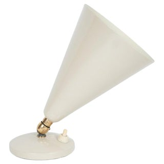 Mid-Century Modern Brass and Ivory Enamel Articulating Uplight For Sale