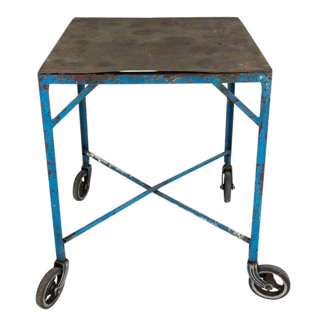 French Industrial Table on Casters For Sale