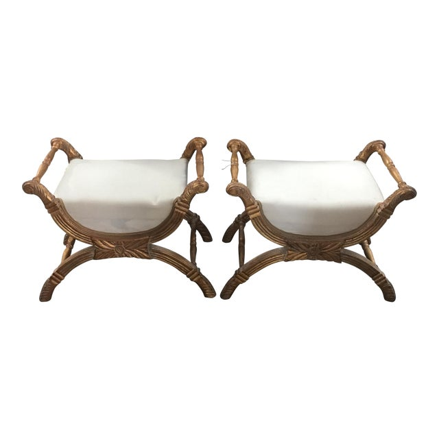 X-Base Gilded Wood Accent Benches - A Pair - Image 1 of 6