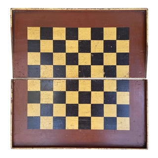 Late 19th Century Aafa Early Primitive Painted Folding Pine Checker Board Wall Decor John R. Perkins, Adrian. Mich For Sale