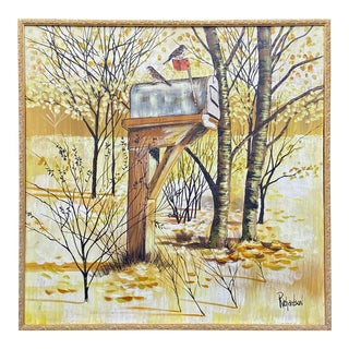 Birds on Mailbox Painting by Richardson For Sale