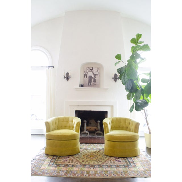 Yellow Velvet Swivel Chairs - A Pair For Sale In New York - Image 6 of 7