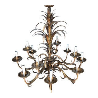 Large Vintage Tole Palm Chandelier For Sale