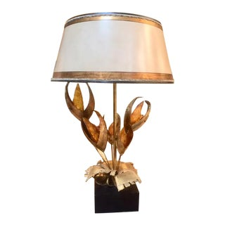 Mid Century Brass & Acrylic Lamp With Shade For Sale