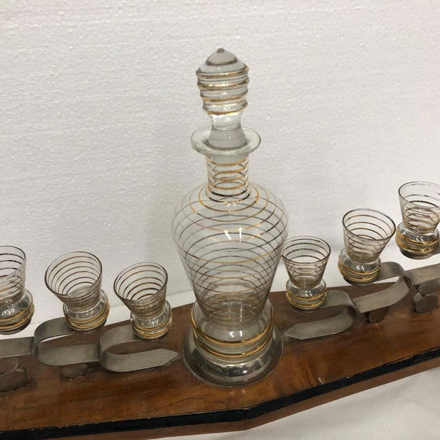 Wood 1930s Italian Art Deco Glass and Wood Liquor Set on Stand - Set of 7 For Sale - Image 7 of 13
