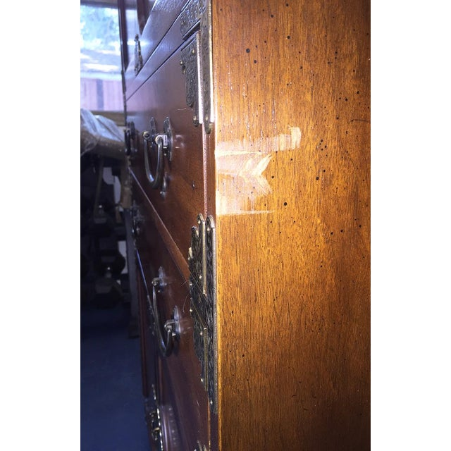 Henredon Etched Brass Chinoiserie Campaign Bar Desk Bookcase Cabinet For Sale - Image 9 of 10