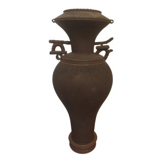 Vintage Japanese Chinese Oriental Ceramic Pottery Jar Urn For Sale