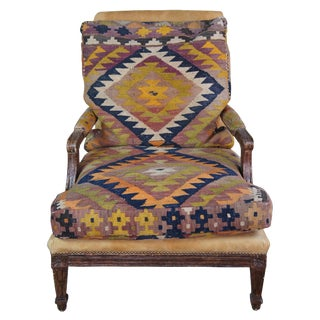 Oversize Southwestern Marquis Louis XV Style Lounge Chair For Sale
