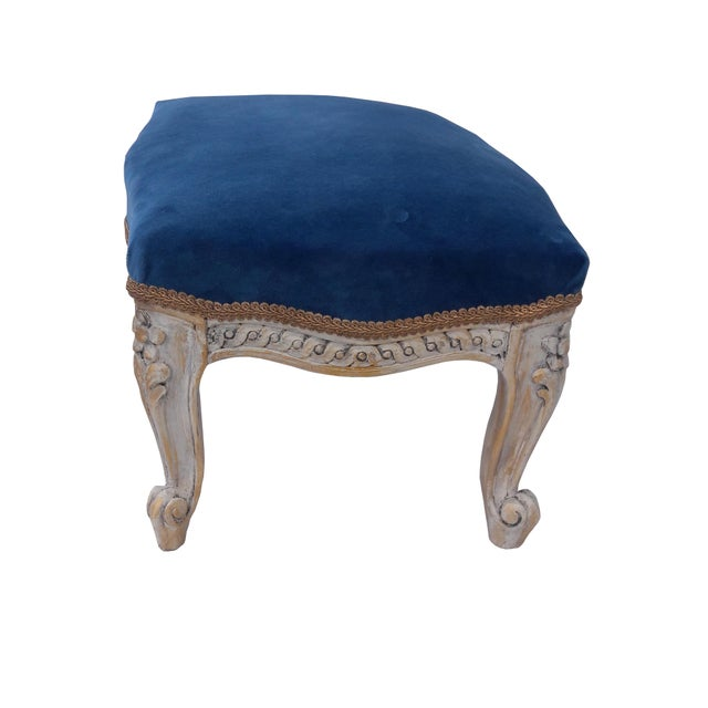 Antique French Velvet Footstool French Louis XVI Painted Footstool French Blue Velvet Carved Footstool French Paris Apartment Footstool For Sale - Image 4 of 8
