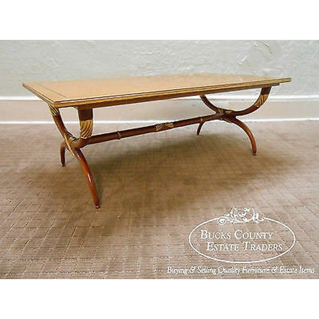 High Quality French Regency Directoire X Base Coffee Table W/ Gilt Accents For Sale - Image 10 of 11