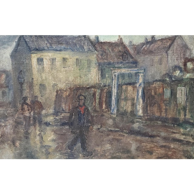 Emiel Hansen (Denmark, 1872-1952) Figures on a Cloudy Day Original Oil Painting C.1930 For Sale In San Francisco - Image 6 of 9