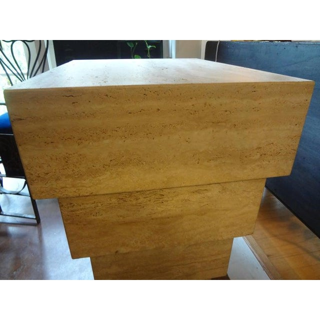 Stone Italian Stepped Travertine Pedestal or Table Base For Sale - Image 7 of 10