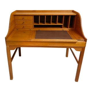 1994 Danish Mid Century Modern Teak Writing Desk W/ Leather Blotter For Sale