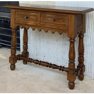 19th Spanish Walnut Console Table With Two Drawers Preview