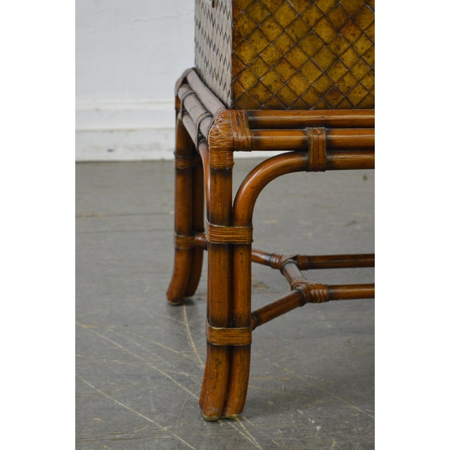 Brown Maitland Smith Woven Leather Lidded Chest on Rattan Base For Sale - Image 8 of 11