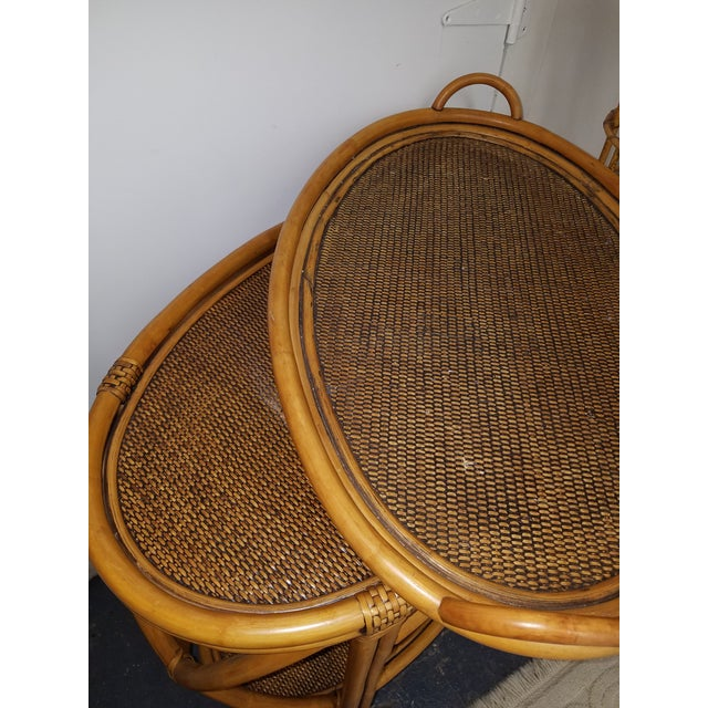 1980s 1980s Boho Chic Bamboo or Rattan Tray Top Oval.Table For Sale - Image 5 of 6