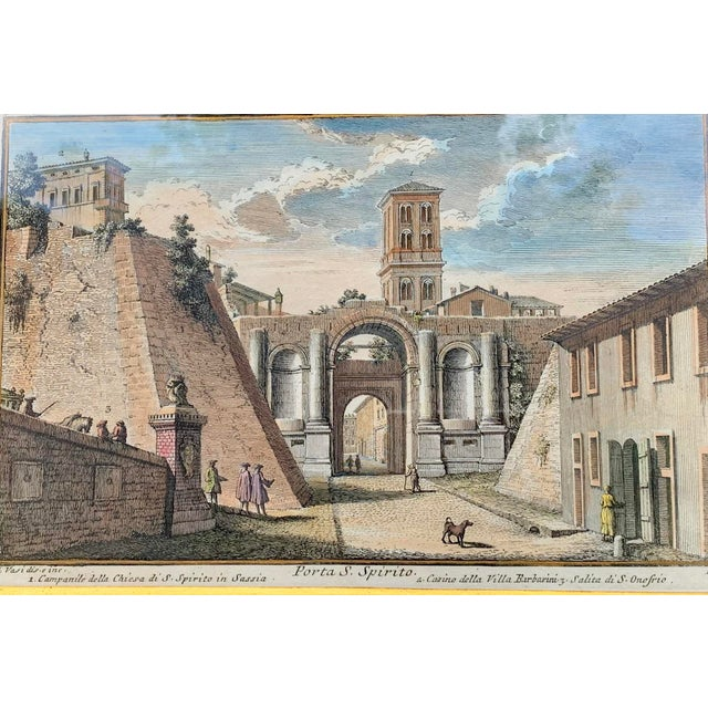 Italian Early 20th Century Antique Porta S. Spirito Framed Hand-Colored Engraving For Sale - Image 3 of 10