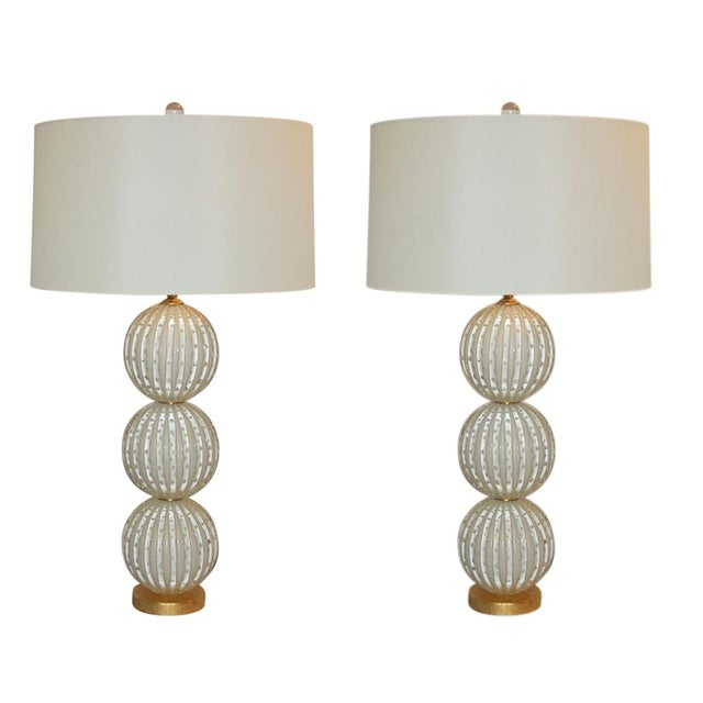 Murano Glass Stacked Ball Table Lamps White Gold Bubbles For Sale - Image 11 of 11