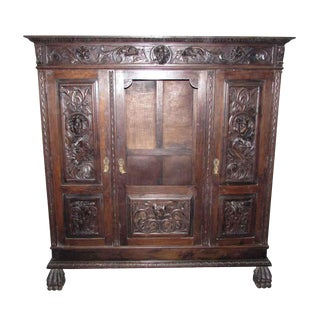 Victorian Figural Carved Wood Cabinet For Sale